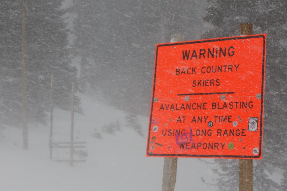 WARNING - SKIIERS MAY BE BLOWN UP
