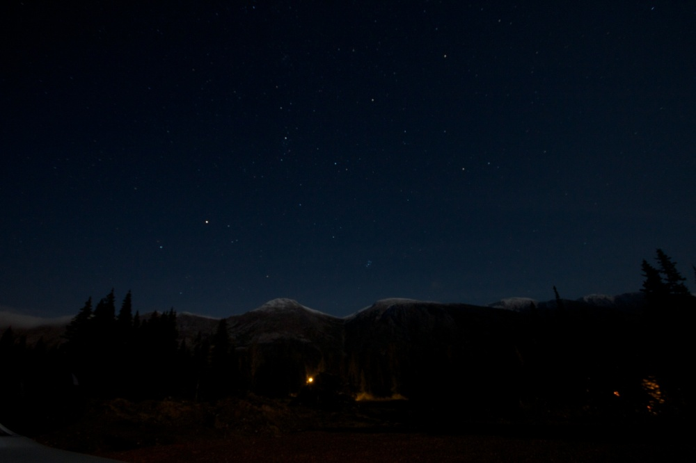 Pine Pass at night